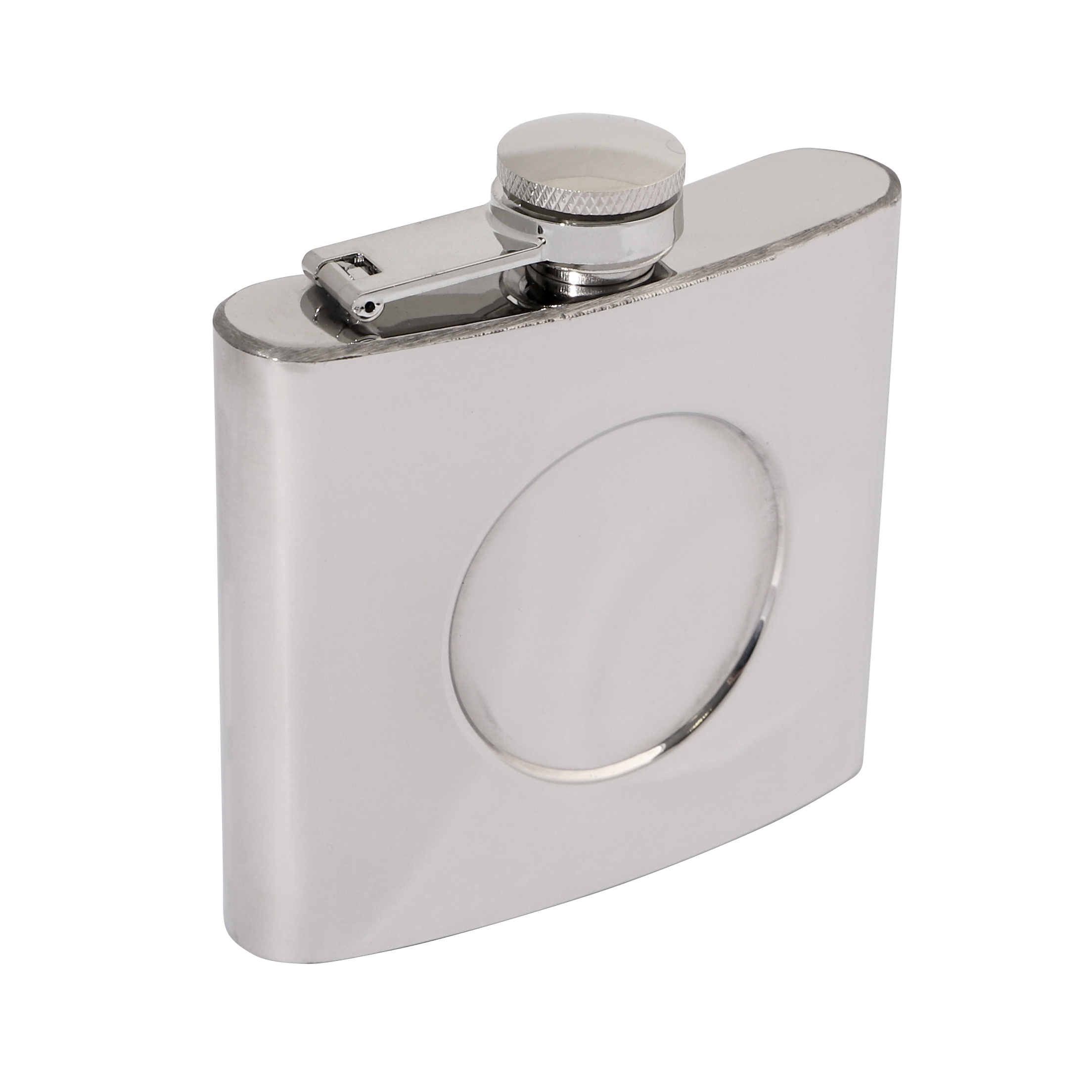 Polished Stainless Steel 5oz Hip Flask 90 x 95mm with 50mm Recess