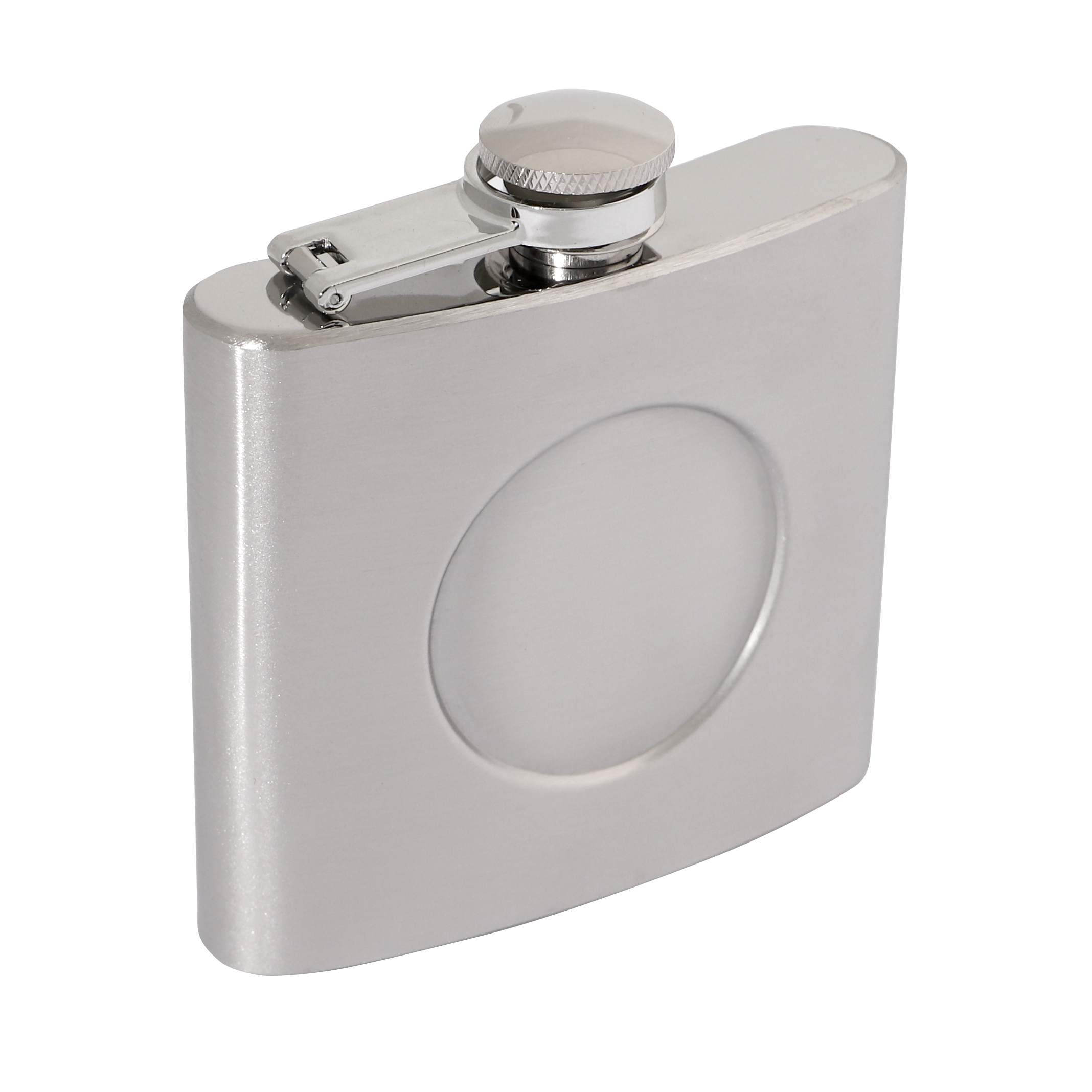 Brushed Stainless Steel 5oz Hip Flask 90 x 95mm with 50mm Recess
