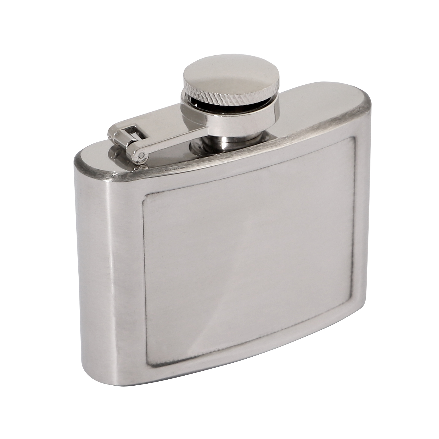 Polished Stainless 2oz Hip Flask 70 x 65mm 50x40mm Recess