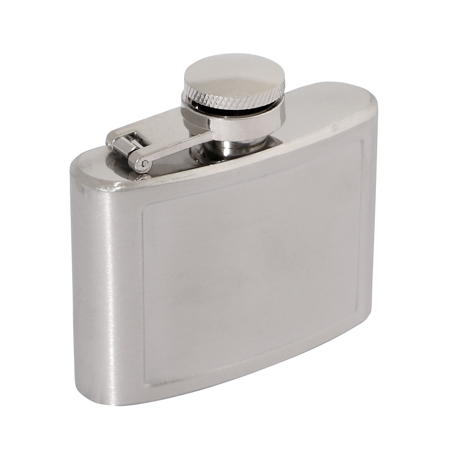 Brushed Stainless 2oz Hip Flask 70 x 65mm 50x40mm Recess