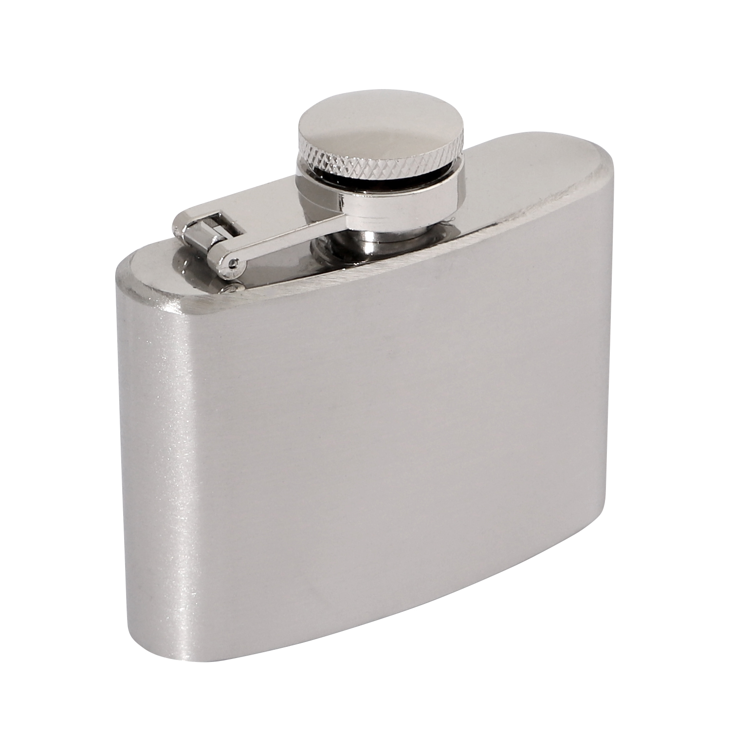 Brushed Stainless 2oz Hip Flask 70 x 65mm
