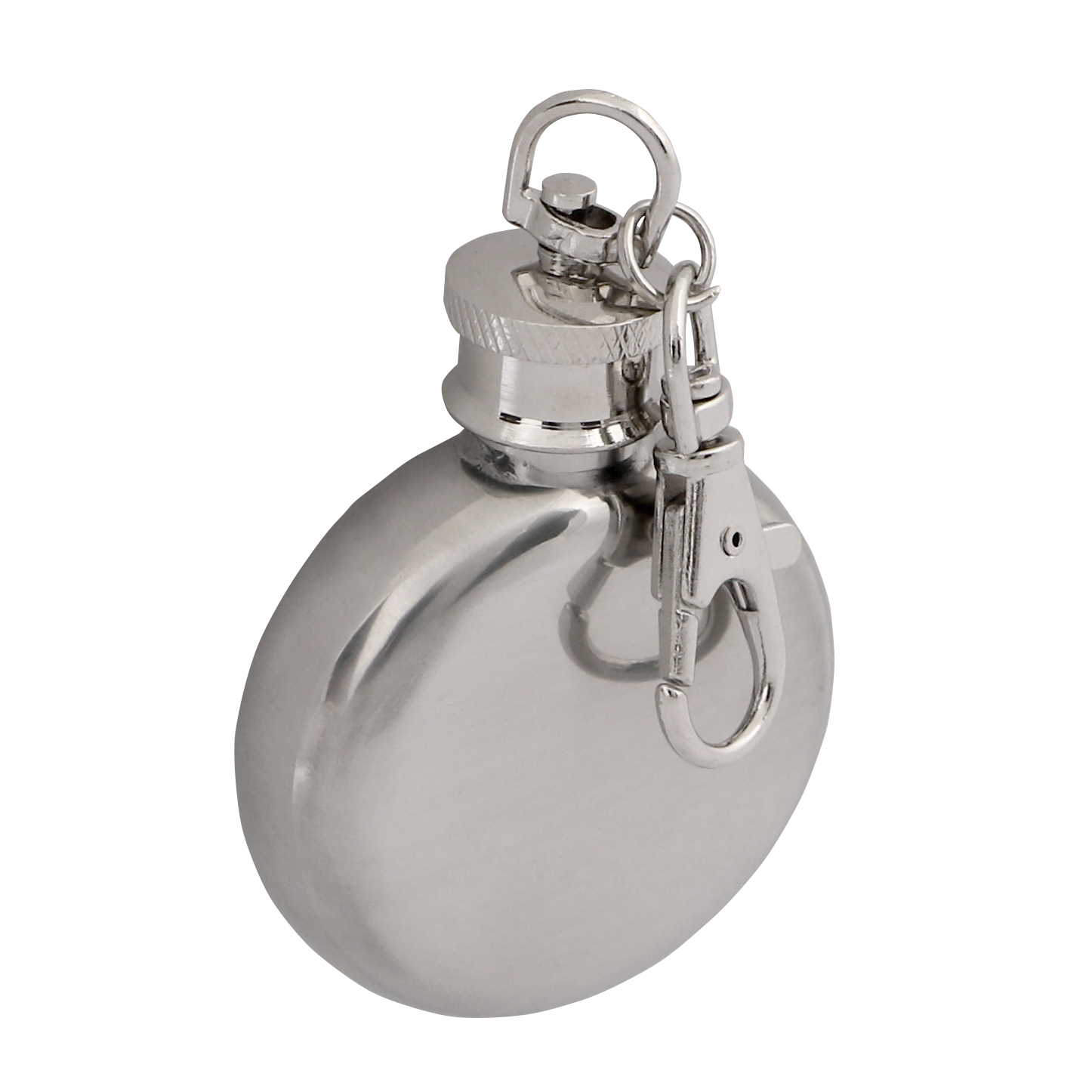 Polished Stainless Steel 1oz Hip Flask Keyring Round