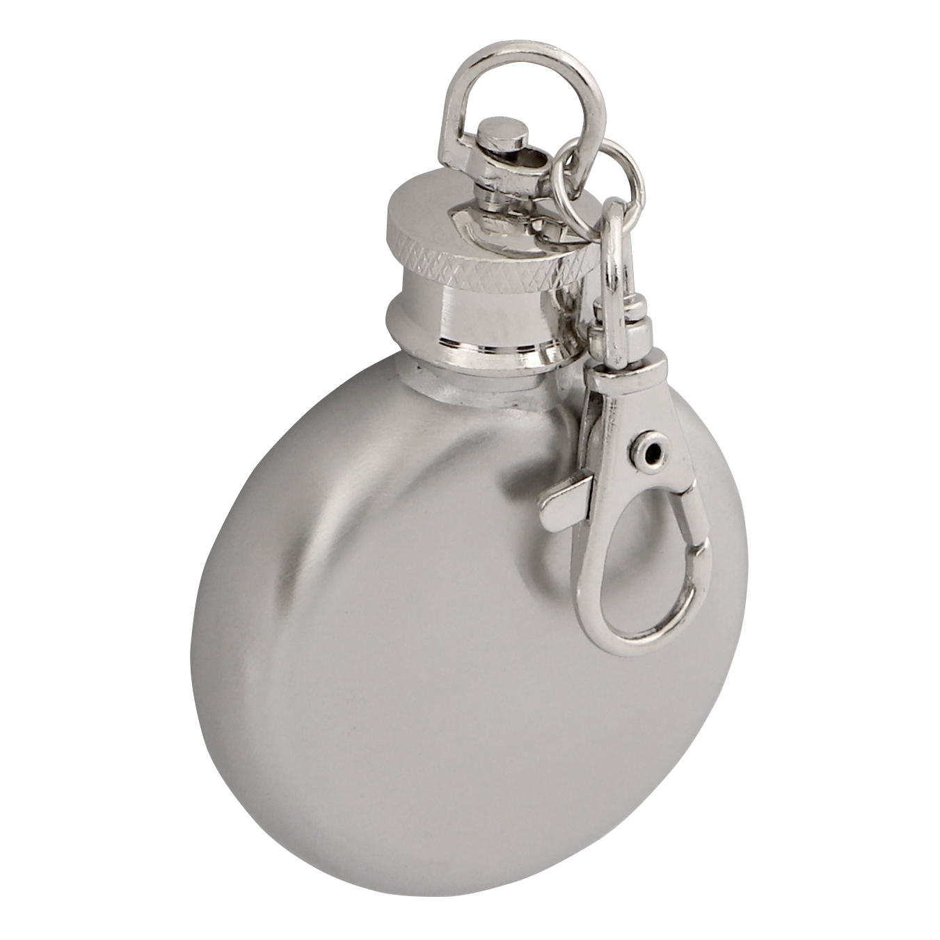 Brushed Stainless Steel 1oz Hip Flask Keyring Round
