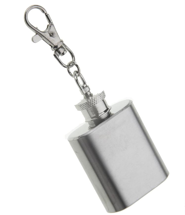 Brushed Stainless Steel 1oz Hip Flask Keyring