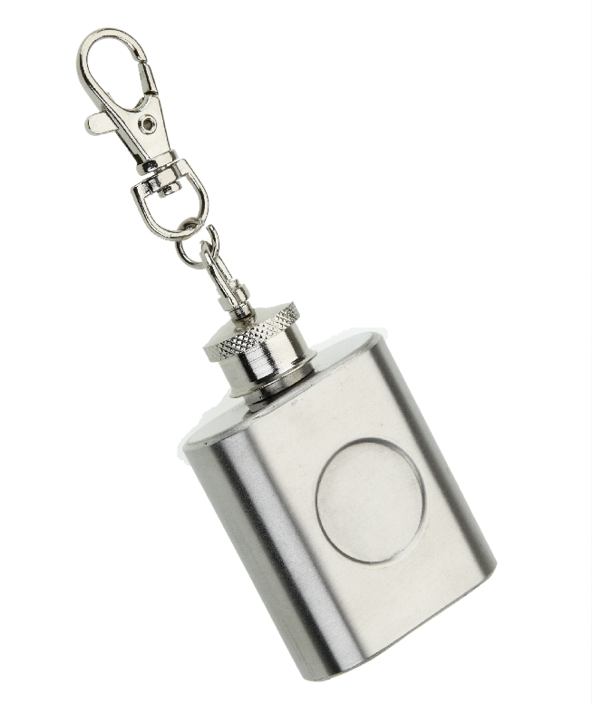 Polished Stainless Steel 1oz Hip Flask Keyring 20mm recess