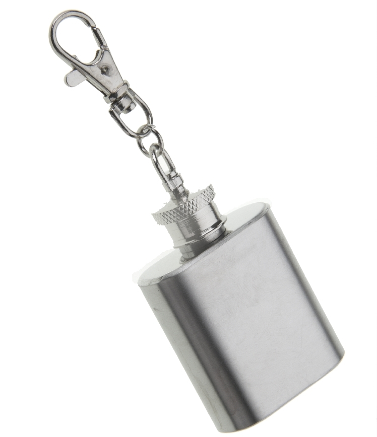 Polished Stainless Steel 1oz Hip Flask Keyring