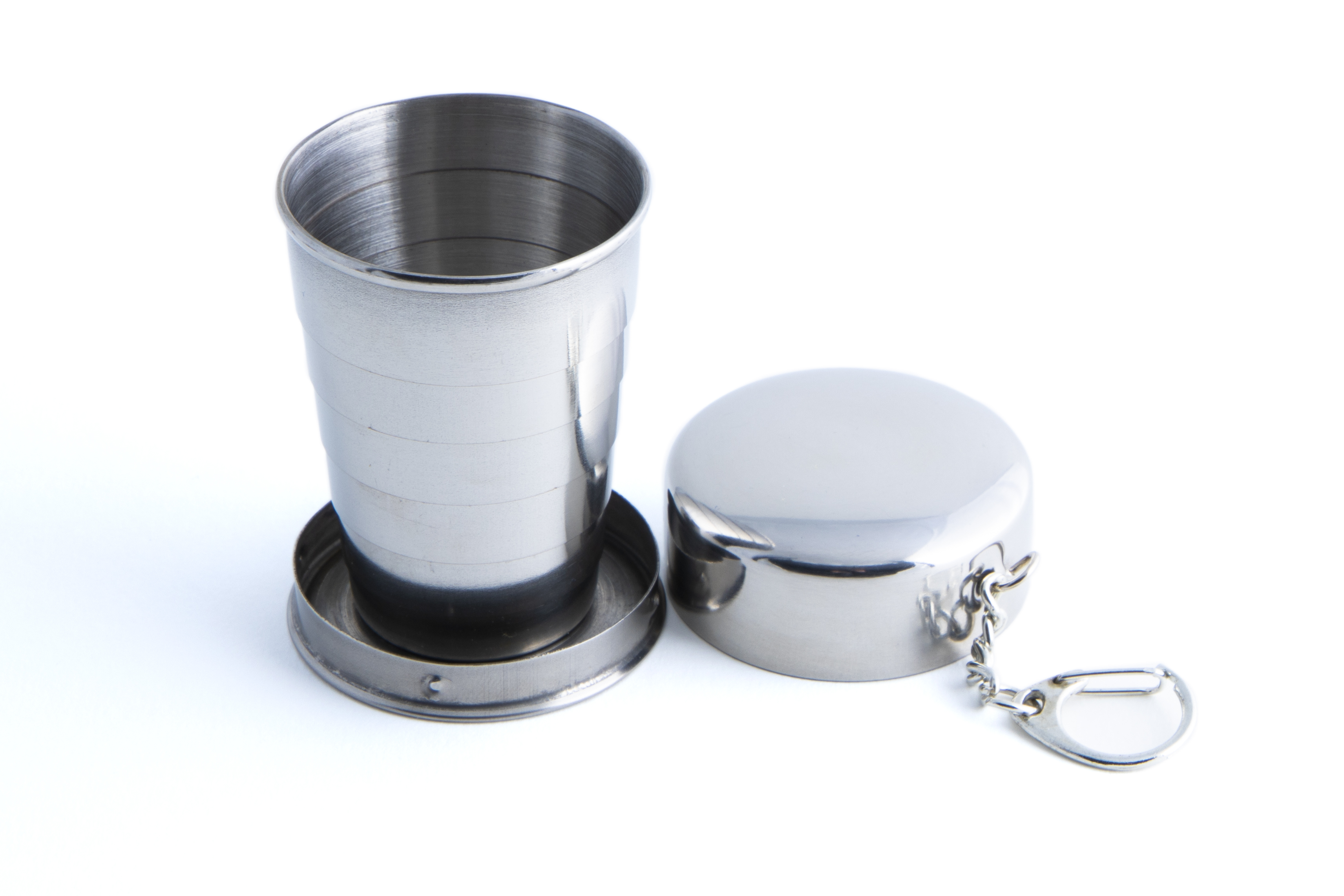 Collapsing 2oz Hip Flask Cup Keyring Stainless steel