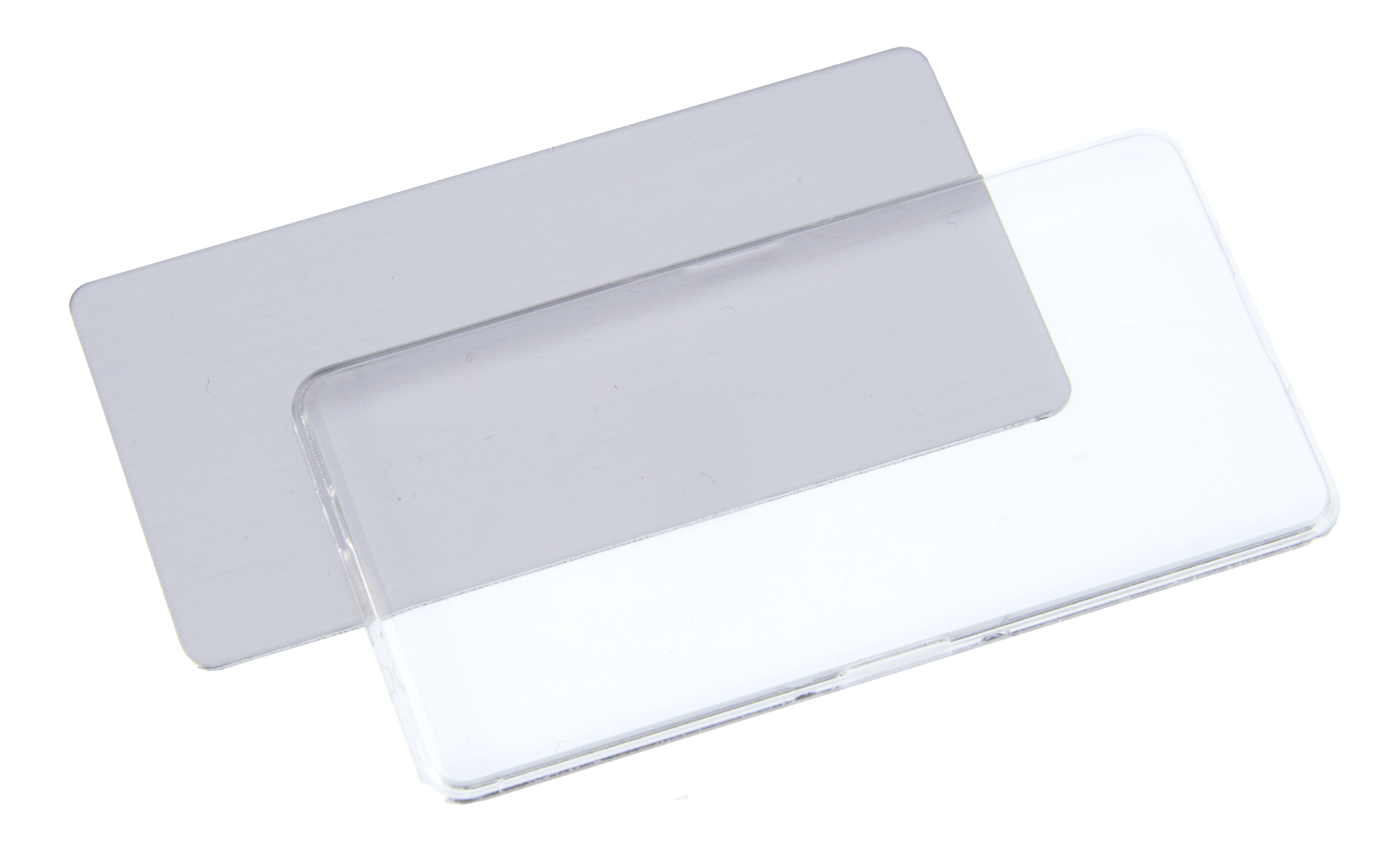 Reusable two part snap together Acrylic Badge Frame with 76mm x 38mm insert