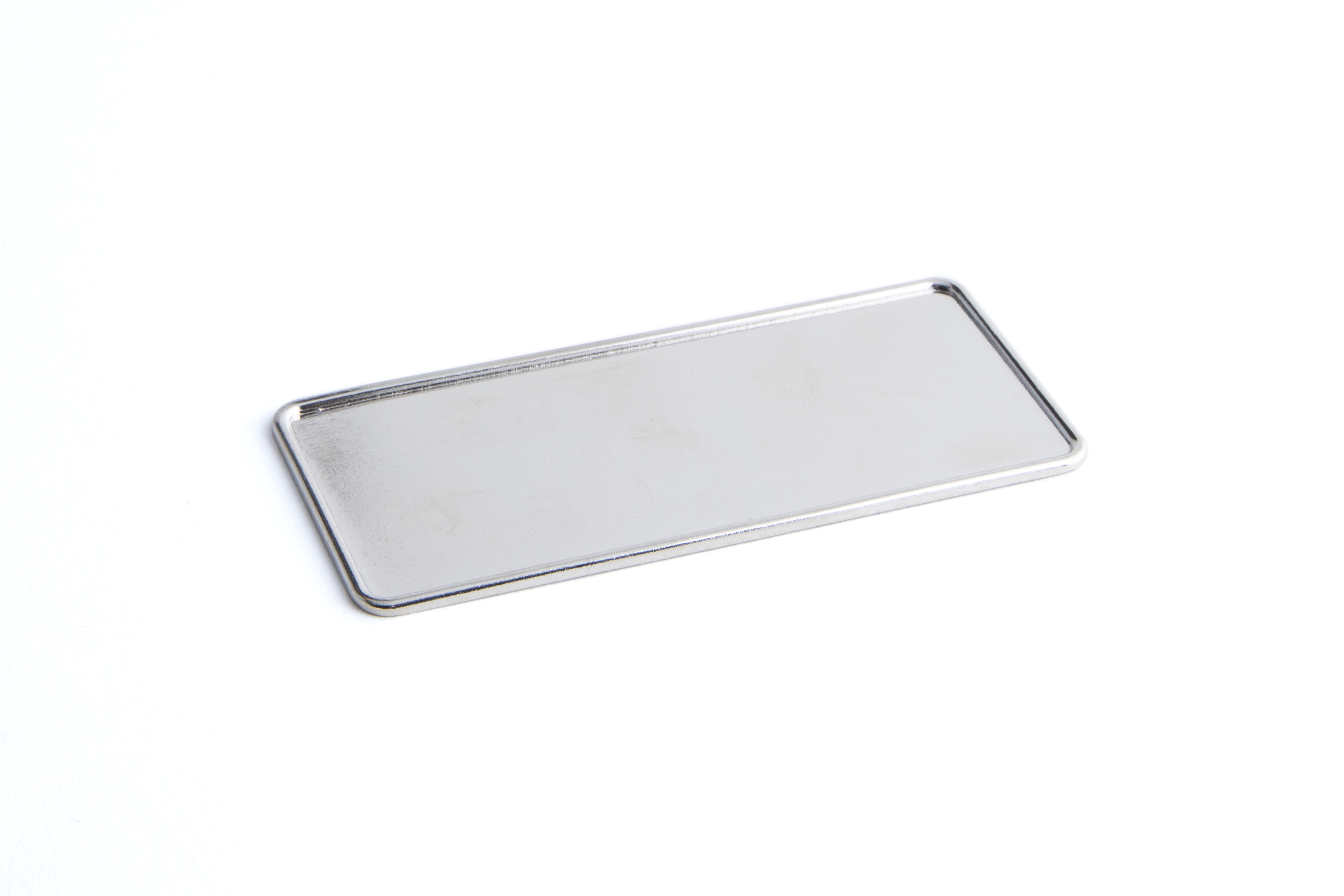76 x 32 mm Metal Badge Frame with raised edge Nickel Plated