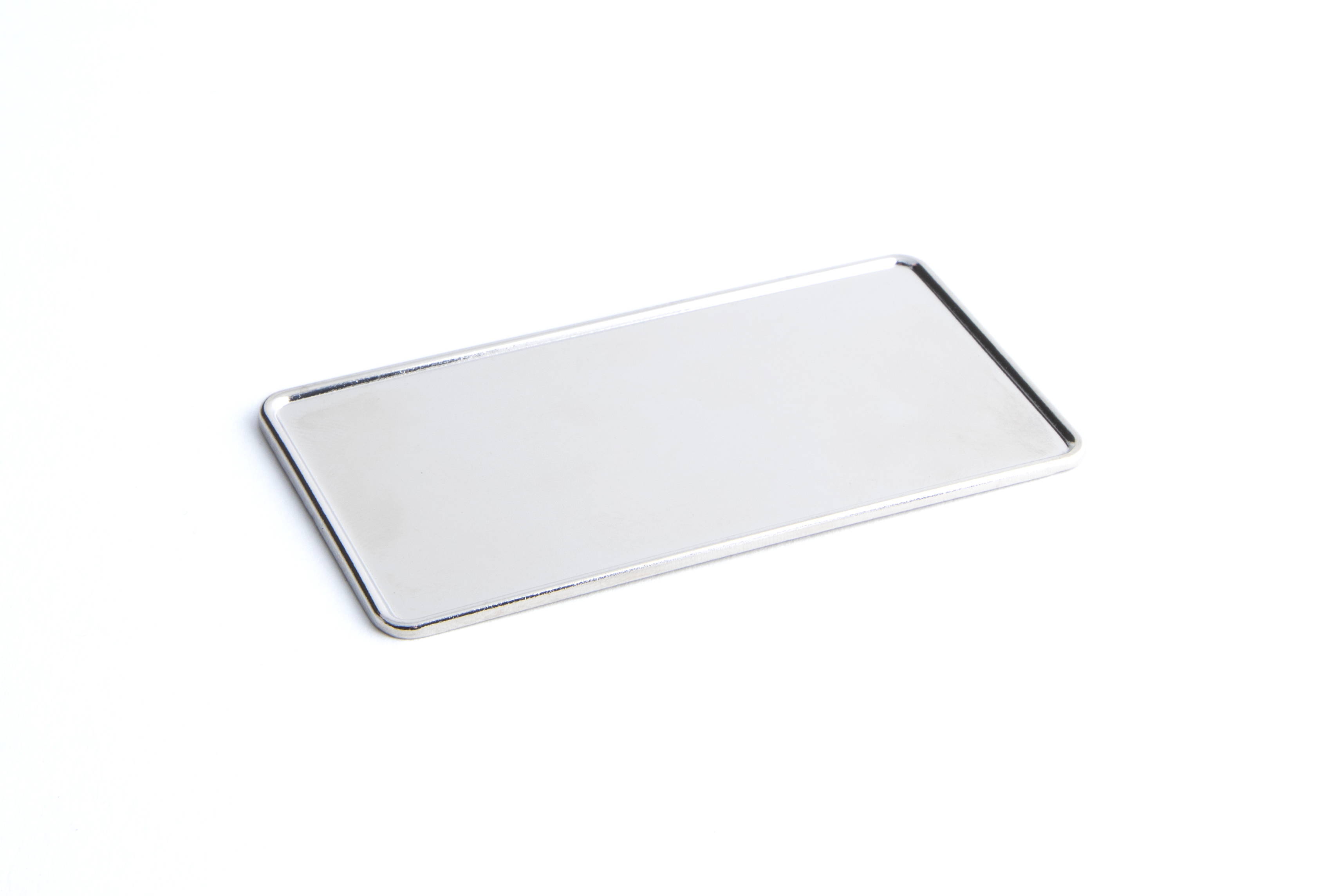 76 x 38 mm Metal Badge Frame with raised edge Nickel Plated