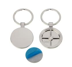 Polished Round Keyring with 30mm Loose Engraving Plate