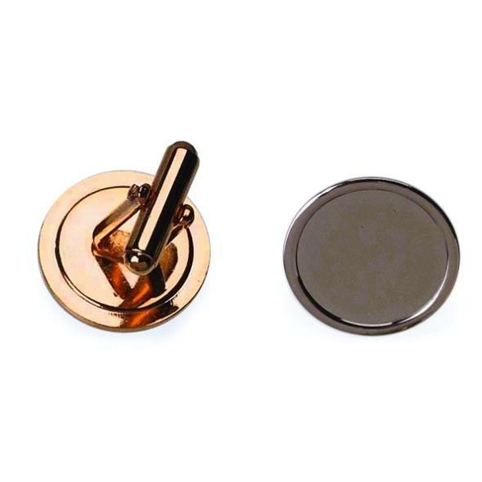 16mm Round Cufflink With Short Angled Frame Gold Plated