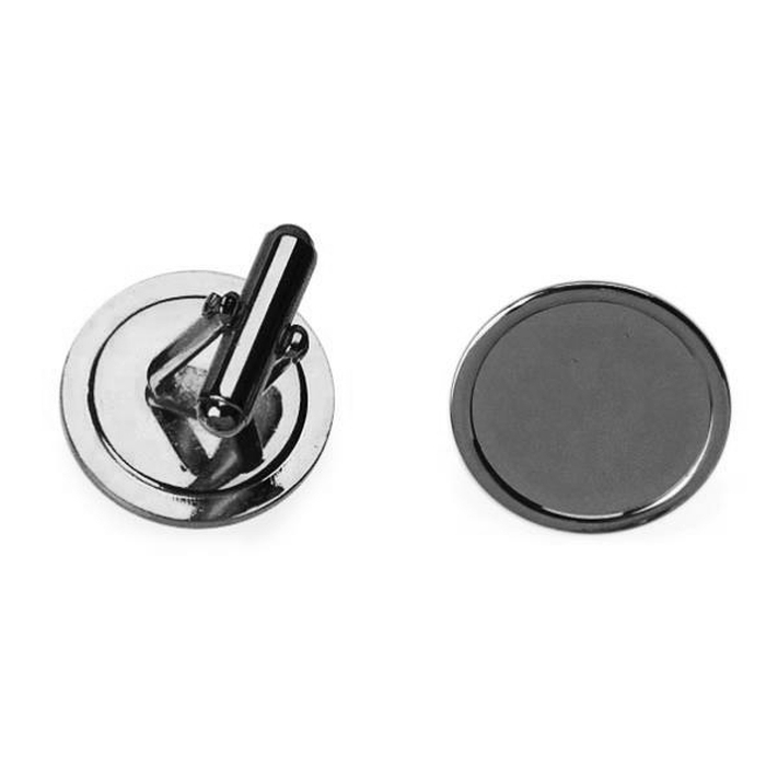 16mm Round Cufflink With Short Angled Frame Nickel Plated