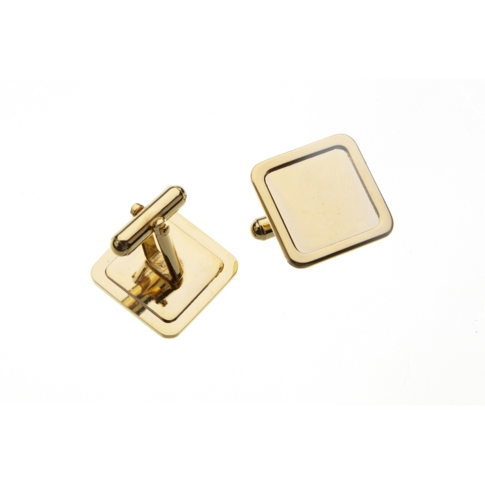 16 x 16mm Square Cufflink With Short Angled Frame Gold Plated