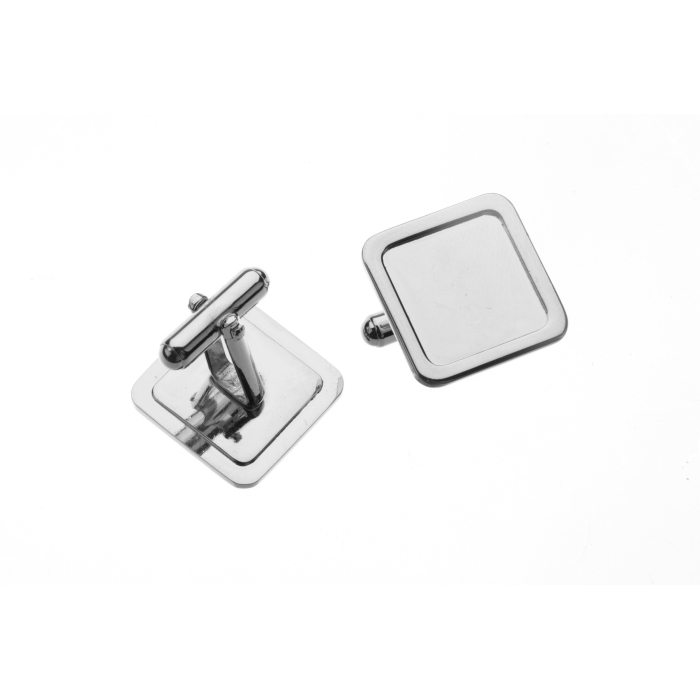 16 x 16mm Square Cufflink With Angled Frame Nickel Plated