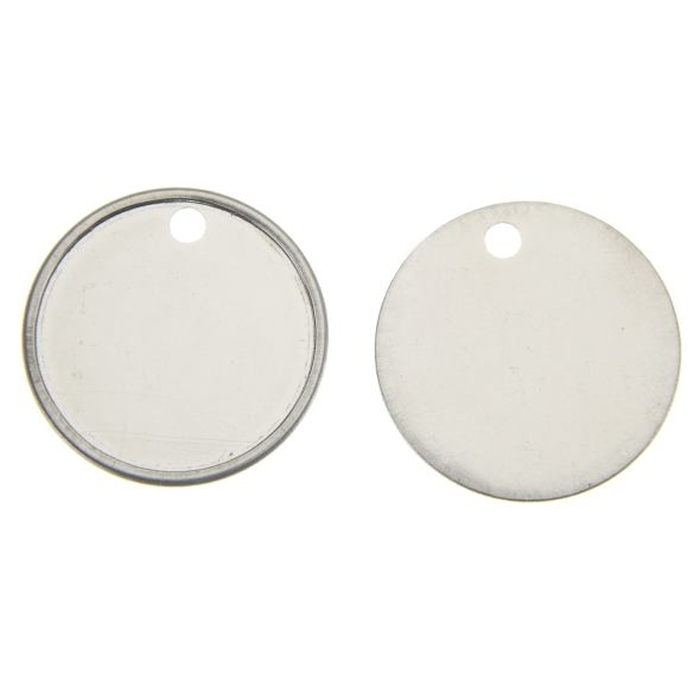 Stainless Steel Dog Tag 25mm Round 3.2mm Hole