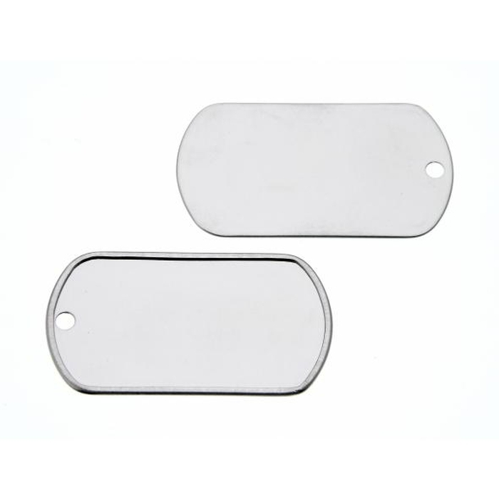 Stainless Steel Dog Tag 50 x 27.8mm 3.2mm Hole