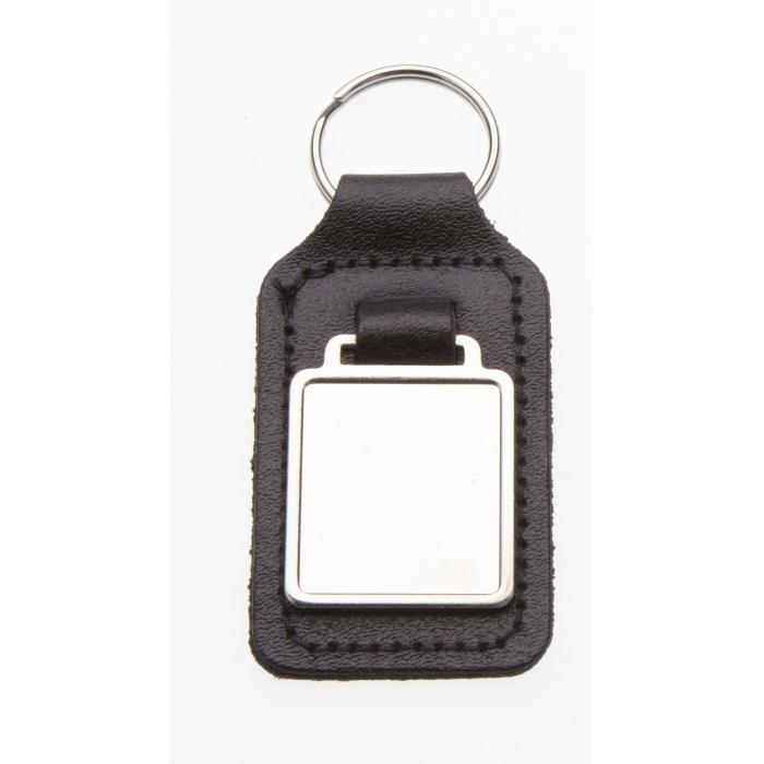 Black Leather Keyring With 26 x 23mm Fob