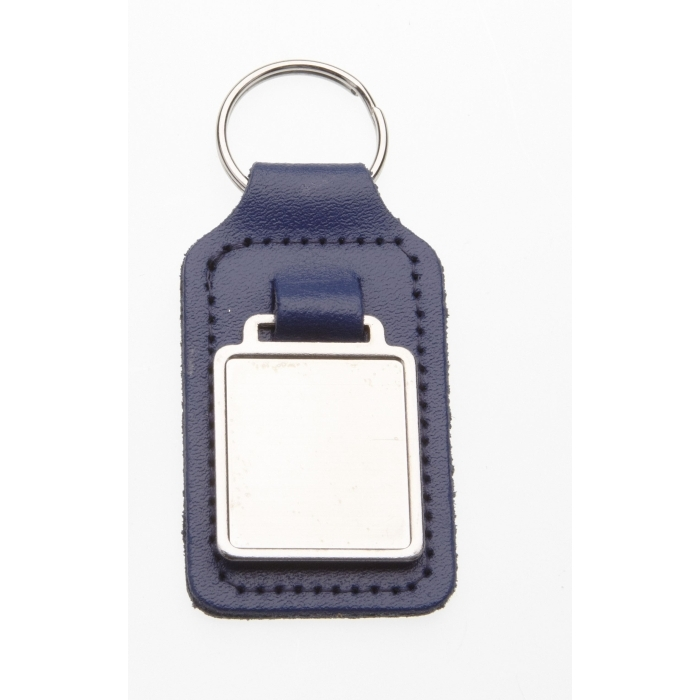 Blue Leather Keyring With 26 x 23mm Fob