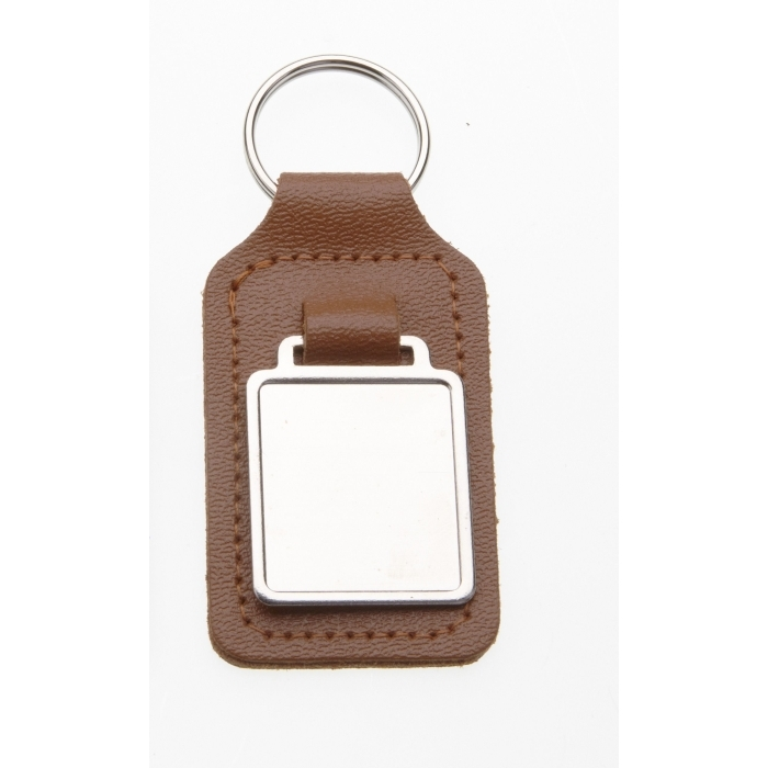 Tan Leather Keyring With 26 x 23mm Fob