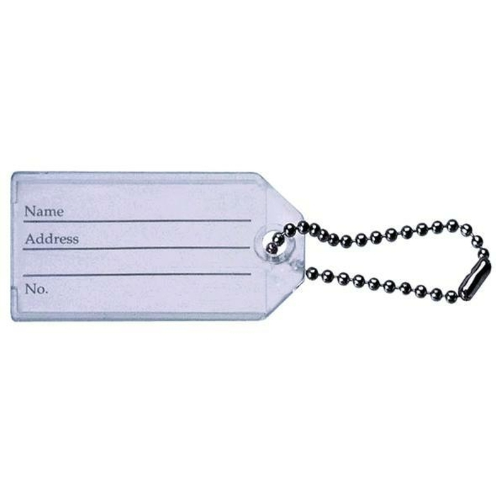 Luggage Tag/Keyring With Ball Chain. Insert Size 45 X 24mm