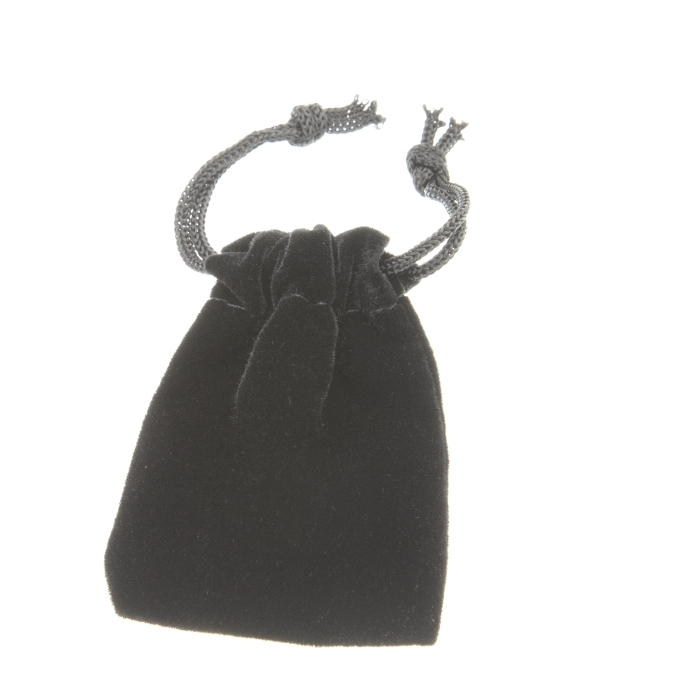 Black velvet drawstring pouch 44 x 51mm.