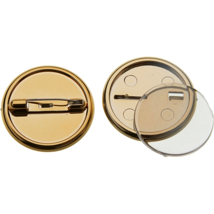 25mm Gold Plastic Button Badge With Dome