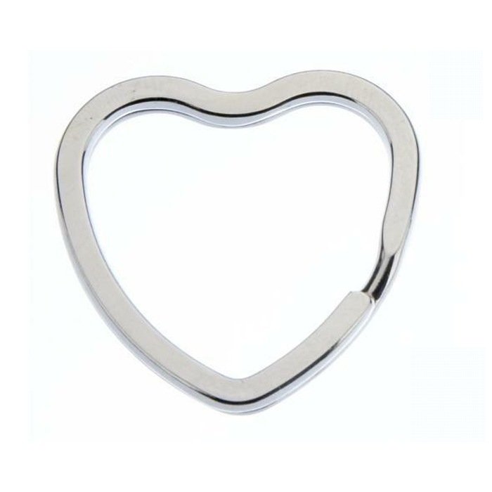 Heart Shaped Splitring 28mm Nickel Plated