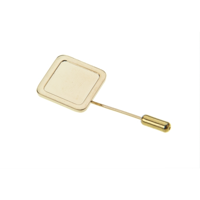 Stick Pin And Protector With 16mm X 16mm Pad Gold Plated