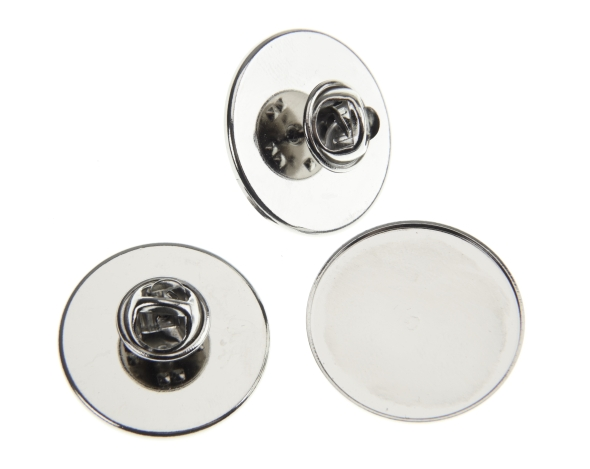 1 Inch Tie Pin and Clutch Nickel Plated