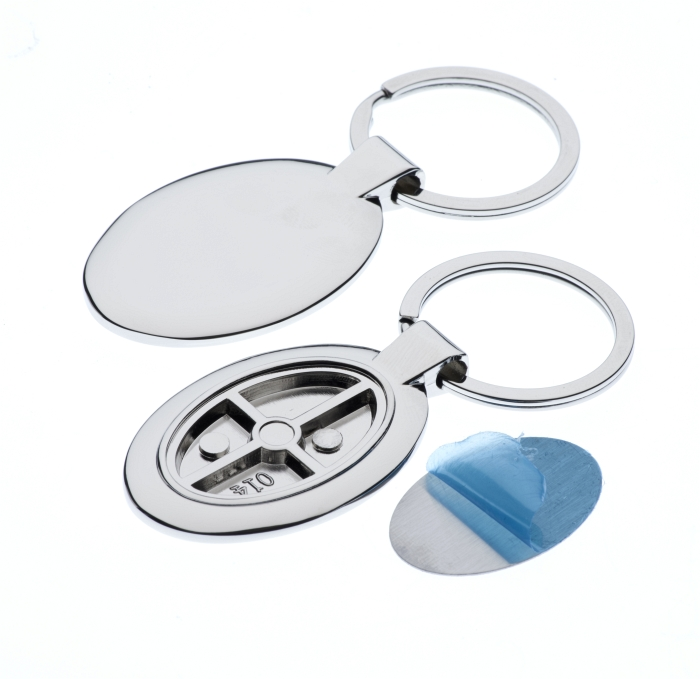 Polished Oval Keyring with 21 x 33mm Loose Engraving Plate