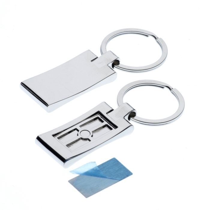 Polished Rectangle Keyring with 14 x 27mm Loose Engraving Plate