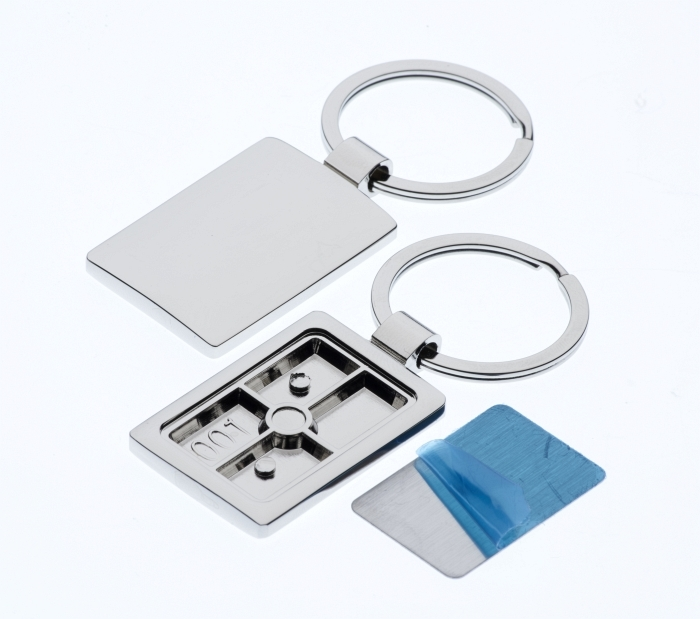 Polished Rectangle Keyring with 21 x 32mm Loose Engraving Plate