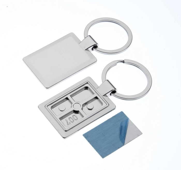 Polished Rectangle Keyring with 30 x 20mm Loose Engraving Plate
