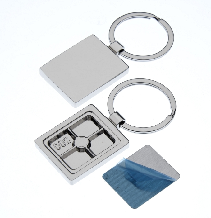 Polished Rectangle Keyring with 27 x 23mm Loose Engraving Plate