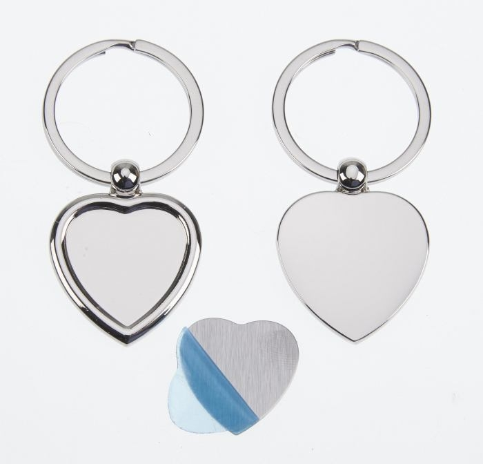 Polished Heart Keyring, 30 x 37mm Loose Engraving Plate