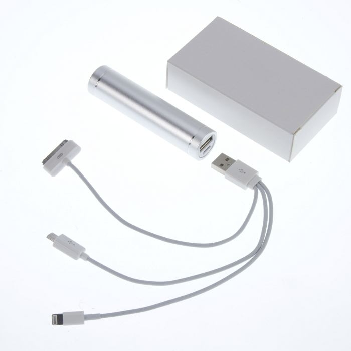Rechargeable USB Battery Charger Power Bank Silver 2200 mAh with cable
