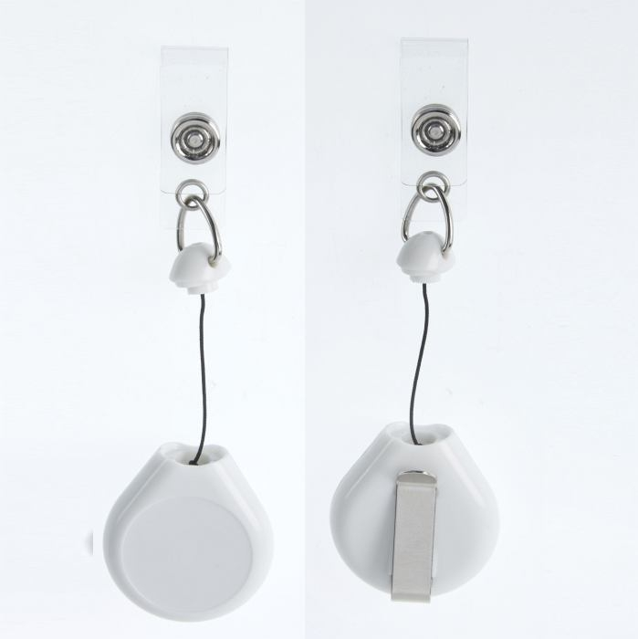 White Badge Reel 25mm Centre 870mm Retractable Cord