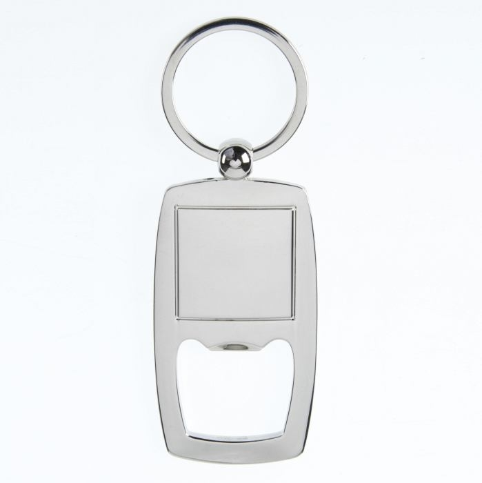 Bottle opener keyring 68 x 38mm with 25.5 x 25.5mm Recess