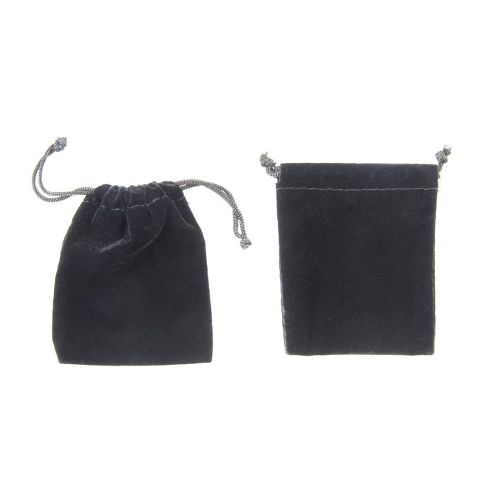 Black Velvet Rectangle Drawstring Pouch 70 x 90mm