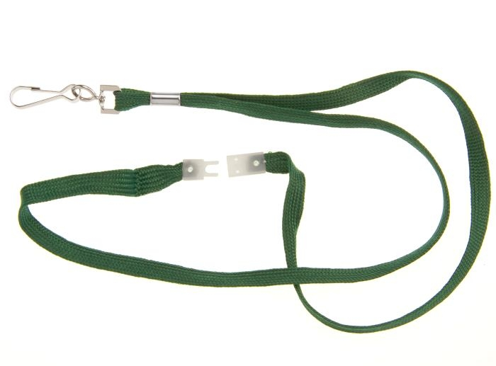 Plain Green Breakaway Lanyard with Spring Clip