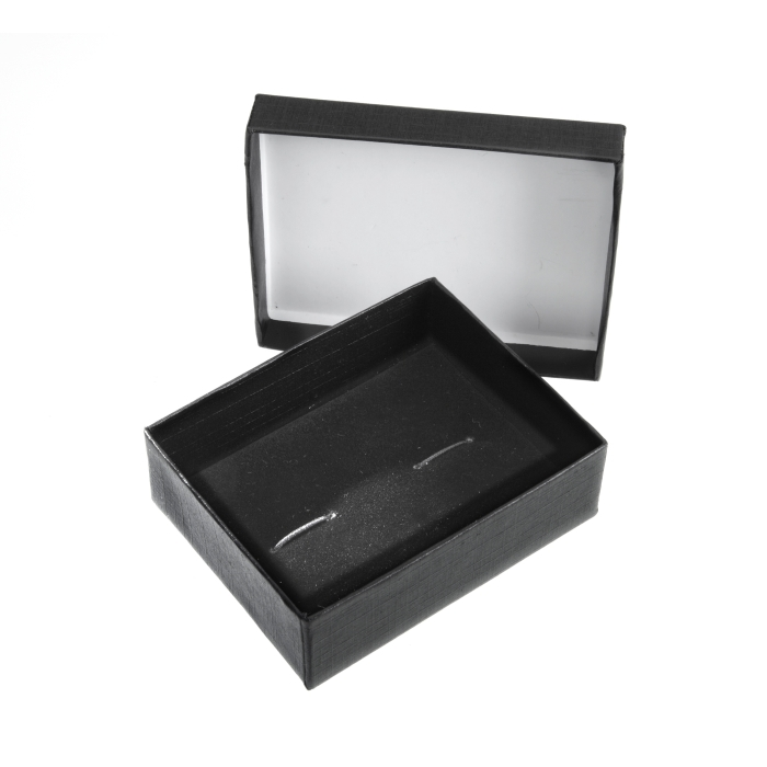 Two Piece Black Cufflink Box 79mm x 62mm x 29mm Deep