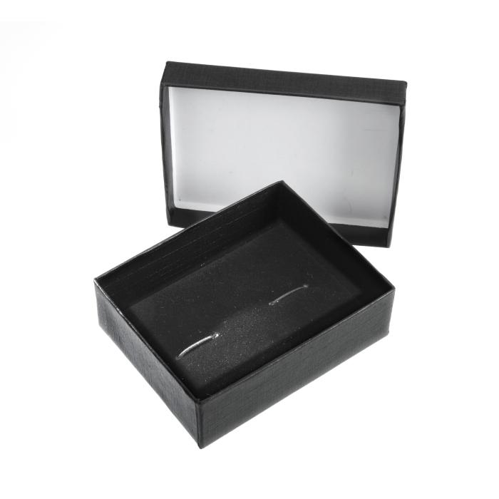 Two Piece Black Cufflink Box 79mm x 62mm x 29mm Deep