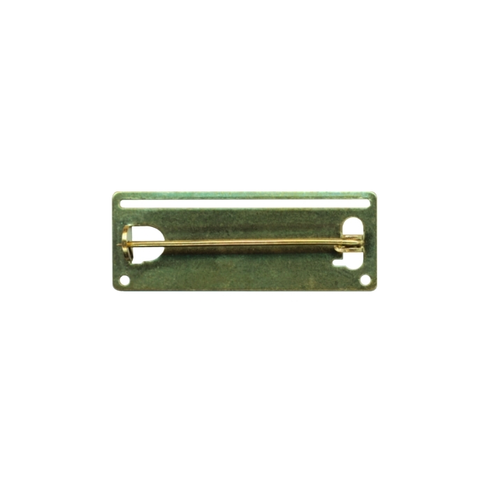 38x14mm Ribbon Pin With Slot And Holes Brass